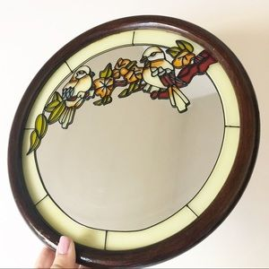 Vintage Bird Stained Glass Hanging Wall Mirror